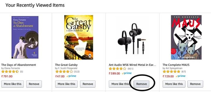 Clear or delete Amazon browsing history
