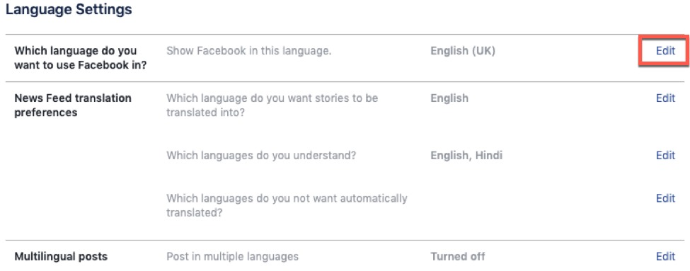 How to change language in Facebook