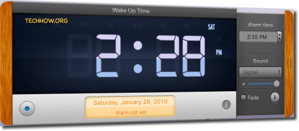 Set up Alarm on Mac using Wake up Alarm App