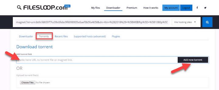 Download torrent files using FilesLoop