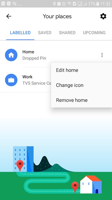 change my home address on Google Maps on Android