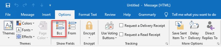 how to bcc in outlook