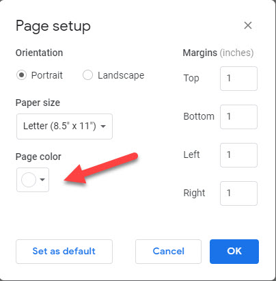 how to change the background on google docs