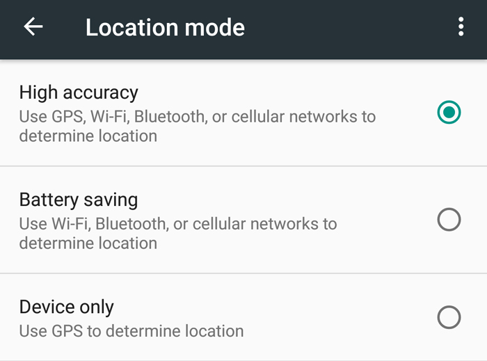 GPS Location Mode