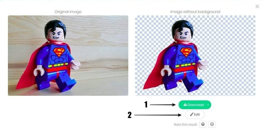 Results Remove Superman Photo Background