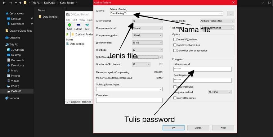 Set 7Zip to Lock Folder with Password