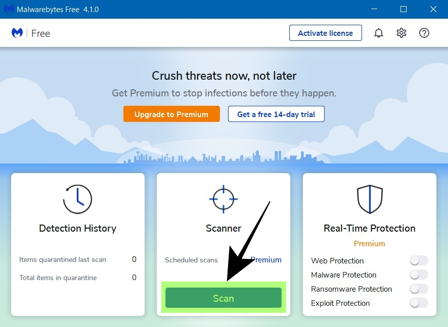 Open Malwarebytes and Select Scan - How to Remove Ads on Google Chrome