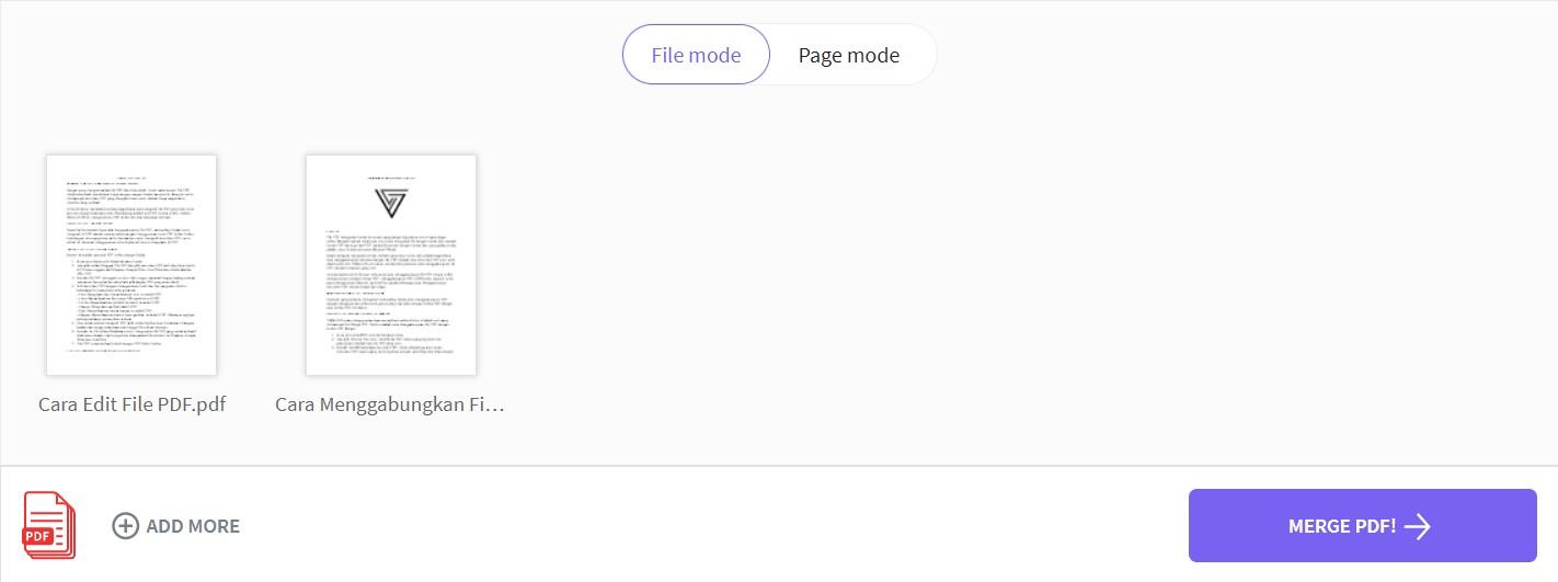 Select Merge PDF to Start PDF Merge