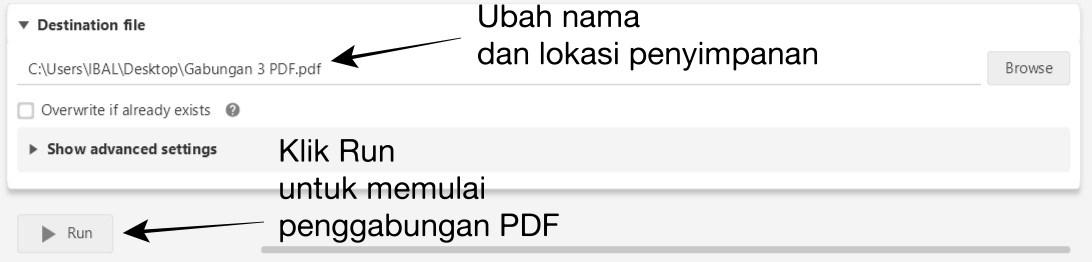 Select Run to Start PDF Merge