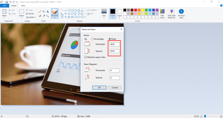 how to reduce the size of the jpg file step 3 paint