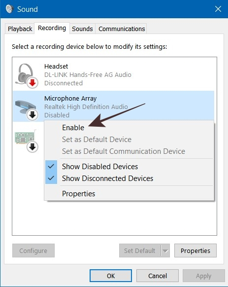 Sound Control Panel in Windows 10 To Enable Microphone