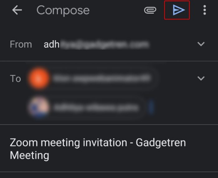 Schedule Zoom Meeting Mobile Invitation