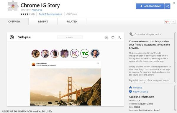 How to view instagram stories in Chrome browser add